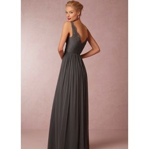 Grey BHLDN fleur anthropology bridesmaid dress